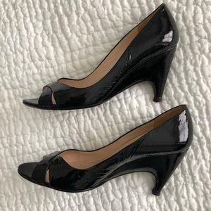 Prada black patent leather open toe pumps s 37